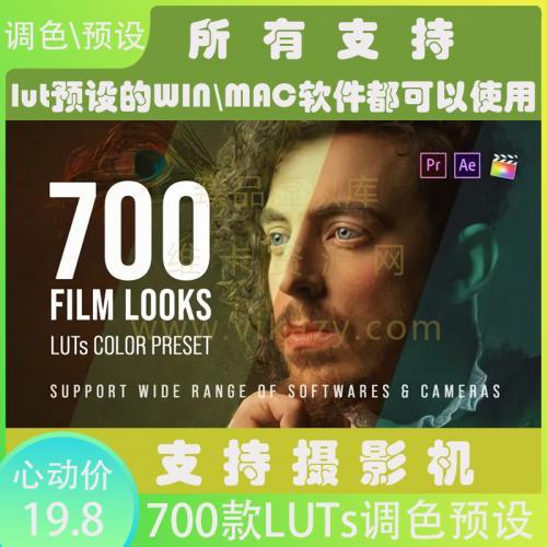 700个LUTs商业广告电影户外风景室内生活婚礼音乐MV时装肖像人物视频调色预设